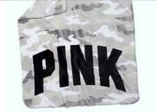 Nip Victoria's Secret Pink Gray Camo Flannel Fleece New Throw Blanket 50� x 60�