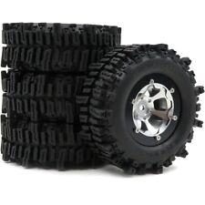 """4pcs RC 1.9"""" Mud Slingers Crawler Tires OD 93mm & Alum 1.9 Beadlock Wheels Rims"""