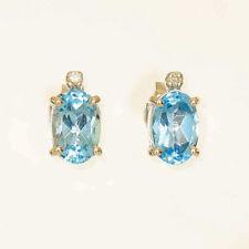 BLUE TOPAZ EARRINGS NATURAL BLUE TOPAZ REAL DIAMONDS 9K WHITE GOLD STUDS NEW