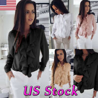 Women Victorian Ruffle Chiffon Shirt Flounce Casual Long Sleeve Loose Top Blouse