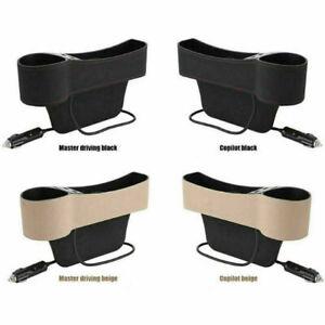 L+R Side Car Accessories Seat Slit Pocket Storage Organizer Box &2USB Port Black