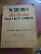 Wisconsin Air Cooled Engines Vf4 Ve4 Manual Instruction Parts List Service Book