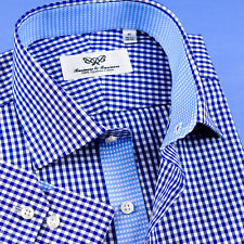 Mens Blue Gingham Check Professional Formal Business Shirts With Blue Floral