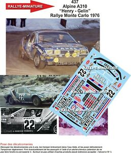 Decals 1/43 Ref 0437 Alpine Renault A310 Henry Rally Mounted Carlo 1976 Rally