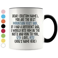 Personalized Mountain Feist Dog Dad Coffee Mug, Treeing Feist Owner Men Gift