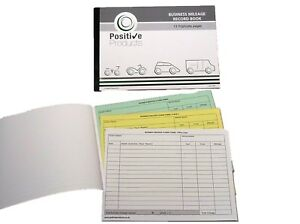 Triplicate Mileage Record Book HMRC Compliant 13 Pages Mileage Log Pad