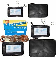 Leather Change Purse Mini pocket Wallet business card case key Ring #33 Lot of 5