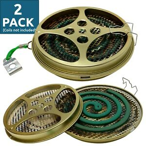 W4W Portable Mosquito Coil Holder & Incense Burner for Outdoor use - 2 Pack