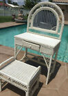 WICKER VANITY WITH MIRROR AND SEAT/BENCH WHITE AND GLASS TOP INCLUDED