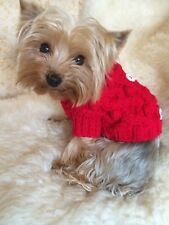 SMALL PET CABLE KNIT JUMPER IN RED