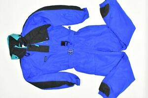 Columbia Men's Small One-Piece Ski Suit Snow Black Blue Jumpsuit  Insulated