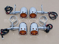 4X Retro Turn Signals Blinker + Fork Clamps Shock Bracket Relocater Holder Light