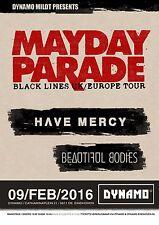"Mayday Parade ""Black Lines Uk/Europe Tour"" 2016 Holland Concert Poster -Pop Punk"