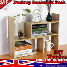 Wooden Desk Bookshelf Bookcase Organizer Holder Rack Unit Storage Shelf Stand AU