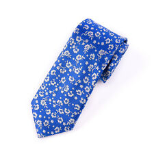"White Flower Blue Tie Skinny 3"" Floral Necktie Designer Fashion Mens Accessory"