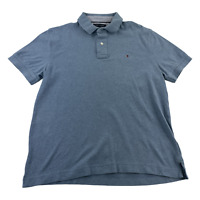Tommy Hilfiger Polo Shirt Adult Large Gray Blue Flag Rugby Mens Golf Rugby
