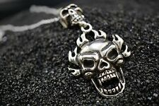 Fire Flame SKULL Silver Ghost Pendant FREE Necklace for Harley Davidson Rider 07
