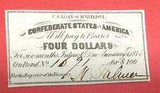 1861 $4 Us Confederate States of America! Old Us! Genuine! Choice Crisp Unc!