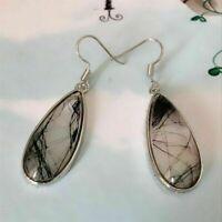 Women Drop Dangle Earrings Black Rutile Quartz Wedding Engagement Jewelry Gift