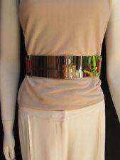 Women Glamorous Gold Metal Plate Belt High Waist Elastic Red Back Size S M L
