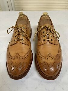 TRICKERS Bench Made Oxfords Tan Leather Shoes Size 10.5 UK 9.5