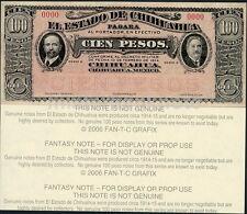 ESTADO DE CHIHUAHUA, MEXICO REV. 100 PESO DOS CARITAS FANTASY ART NOTE - 1-SIDED