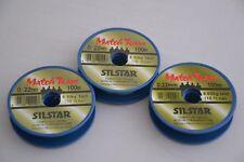 3x 100m spools silstar match team fishing line 0.22mm 10lb pole rig hooklength