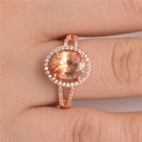 Gorgeous Wedding Rings for Women Rose Gold Filled Jewelry Crystal Ring Size 6-10