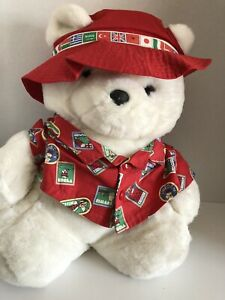 "1993 Dayton Hudson Collectible Santa Bear- World Traveler w Passport & Bag 18"""