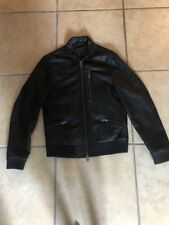 Pre Owned ALL SAINTS MENS BLACK LEATHER BIKER JACKET SMALL