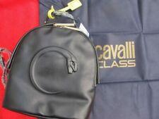 CAVALLI CLASS black BACKPACK BAG + yellow tag gold hardware logo'd dustbag bnwt