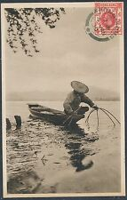 1930 Hong Kong to Italy Real Picture Postcard Cover Fisherman in Boat