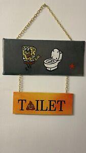 Wooden WC Toilet The Sign Spongebob ( Hand Paint )