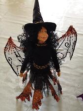 Kf179 Orange Witch Bat Halloween Decoration Scary Black Sparkle