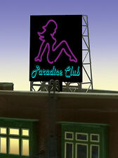 """PARADICE CLUB ANIMATED ROOFTOP SIGN by MILLER ENGR-N & Z SCALE-1"""" W X 1.35""""T"""