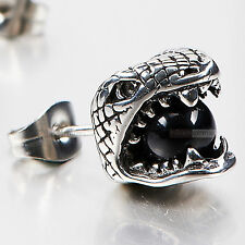 silver earring stainless steel black crystal snake Cobra  SINGLE stud