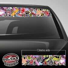 JDM stickerbomb Sunvisor strip 1300mm x 130mm external fitment stickerbombing