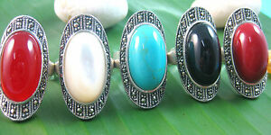 925 sterling silver Marcasite Red Onyx, White Agate,Turquiose Red Coral RING