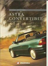 VAUXHALL ASTRA CONVERTIBLE 1.6i MANUAL,1.6i AUTO & 1.8i SALES BROCHURE 1997 1998