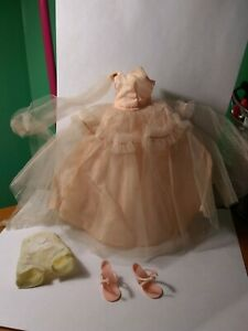 "Vintage pink doll dress and shoes for a Ideal 10 1/2"" Miss Revlon or Toni doll"