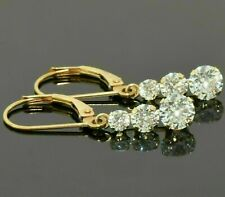 2 Ct Round Cut Diamond Three Stone Drop/Dangle Earrings 9Ct Yellow Gold Finish