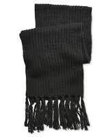 Steve Madden Mens Scarf Black One Size Chunky Knitted Fringe Solid $45 #266