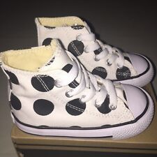 Baby Boys Girls Converse All Star High Shoes size 6 C NIB Black / White Dot