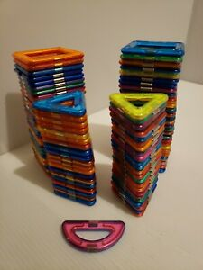 Lot Of 97 Magformers Squares & Triangles Magnetic Building Design Toys