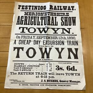 ANTIQUE FESTINIOG RAILWAY POSTER ~ 1890 AGRICULTURAL SHOW AT TOWYN.