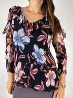 SUSSAN Multicolored Floral Print Ruffle Collar Cold Shoulder Top Plus Size AU 16