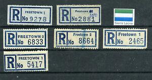 SIERRA LEONE, 6 alte R-Zettel, verschiedene Typen, sehr selten