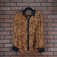 HINGE Nordstrom Leopard Print Blouse Sheer Animal Print Button Front Women Small