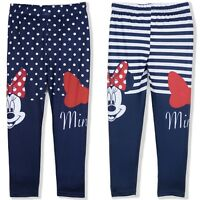 Disney Minnie Mouse Girls Pants Character Leggings Stripes Dots Trousers 3-8 Yrs