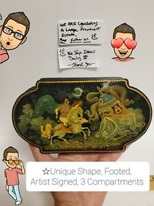 Absolutely Stunning Russian Lacquer Box, Artist Signed, Very Detailed, Unique SE